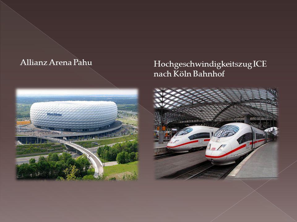 Allianz Arena Pahu Hochgeschwindigkeitszug ICE nach Köln Bahnhof