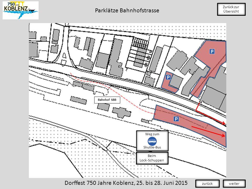 Bahnhof SBB Zurück zur Übersicht Dorffest 750 Jahre Koblenz, 25.