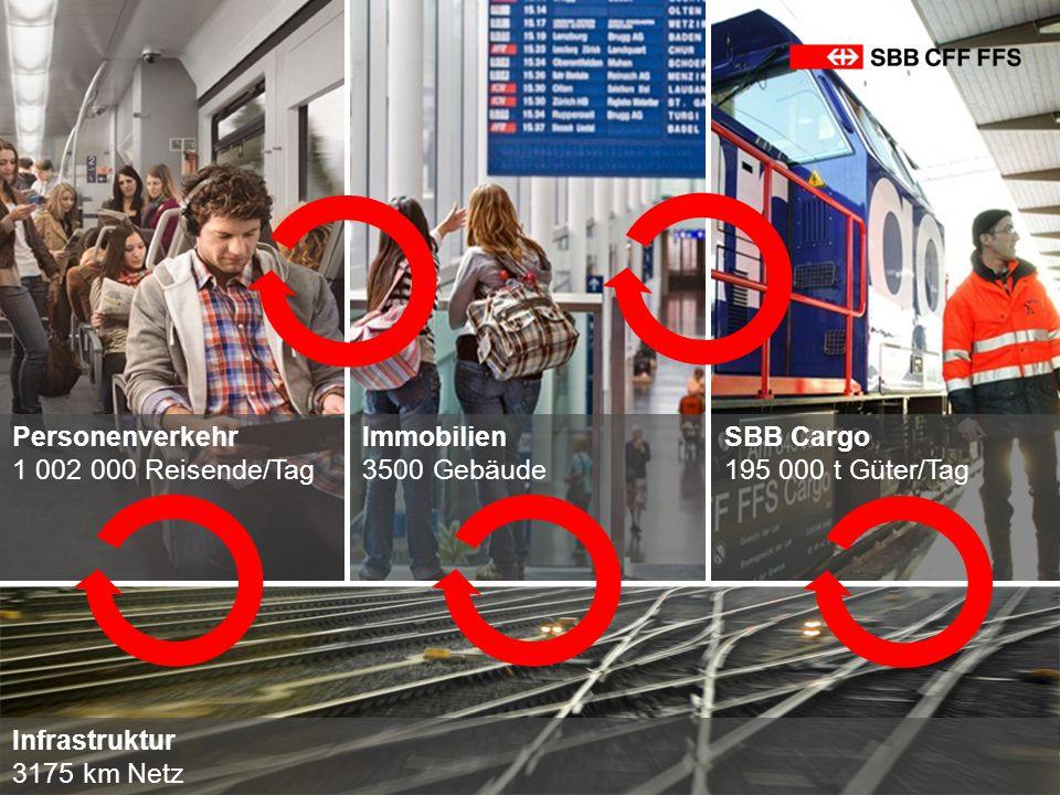 Personenverkehr 1 002 000 Reisende/Tag SBB Cargo 195 000 t Güter/Tag Infrastruktur 3175 km Netz Immobilien 3500 Gebäude