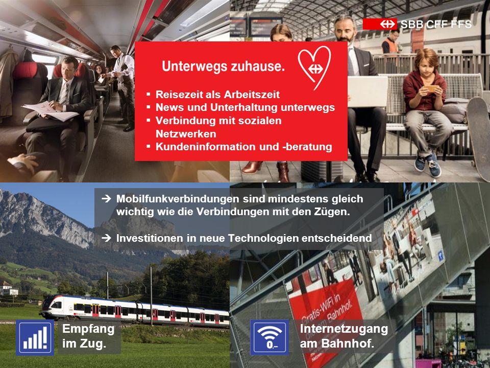 Empfang im Zug.  Mobilfunkverbindungen sind mindestens gleich wichtig wie die Verbindungen mit den Zügen.  Investitionen in neue Technologien entsch