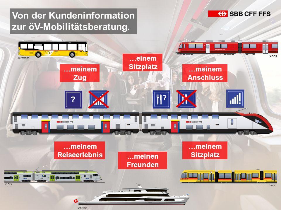 Von der Kundeninformation zur öV-Mobilitätsberatung. © Postauto © BLS © RHB © BLT …meinem Anschluss …meinem Zug …meinem Reiseerlebnis …einem Sitzplatz