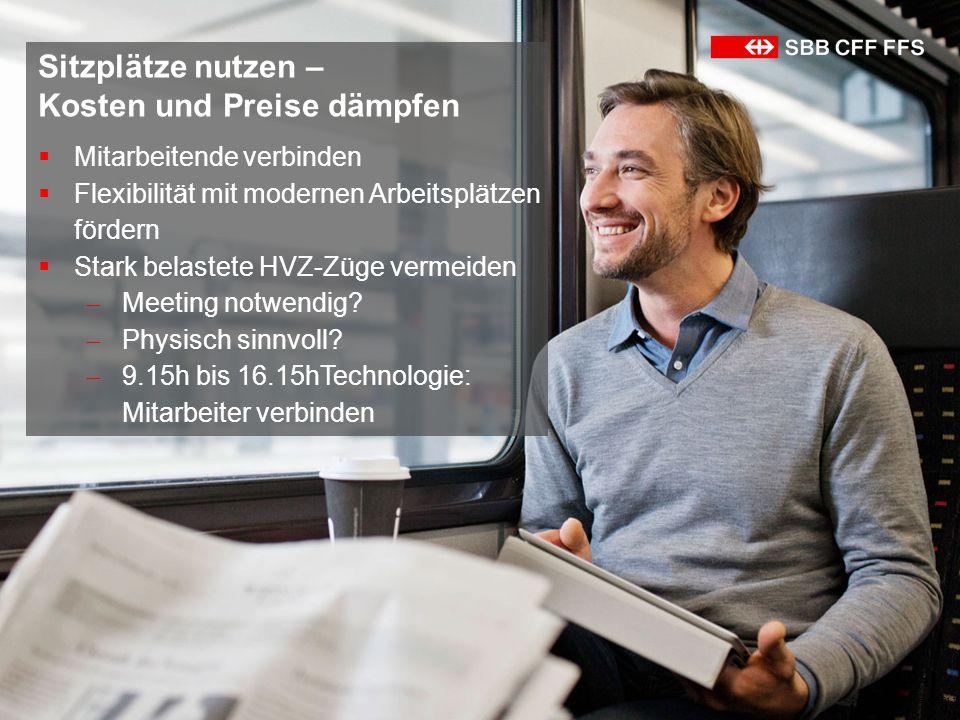 Kickoff WorkAnywhere 30.01.139 Sitzplätze nutzen – Kosten und Preise dämpfen  Mitarbeitende verbinden  Flexibilität mit modernen Arbeitsplätzen fördern  Stark belastete HVZ-Züge vermeiden  Meeting notwendig.