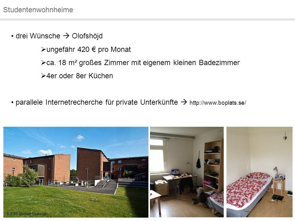 Studentenwohnheime drei Wünsche  Olofshöjd  ungefähr 420 € pro Monat  ca. 18 m² großes Zimmer mit eigenem kleinen Badezimmer  4er oder 8er Küchen