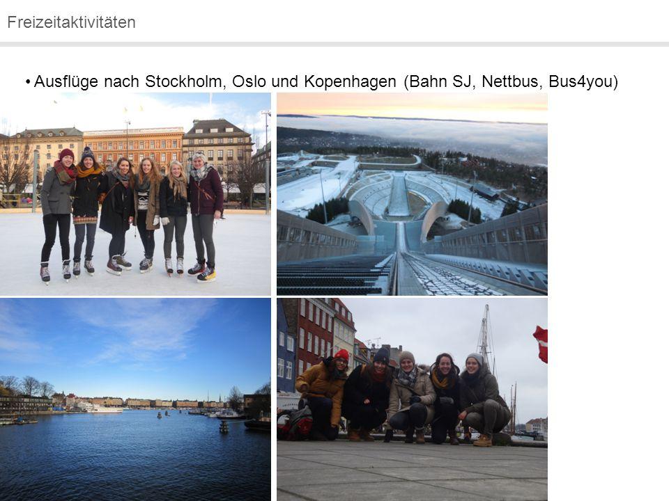 Freizeitaktivitäten Ausflüge nach Stockholm, Oslo und Kopenhagen (Bahn SJ, Nettbus, Bus4you)