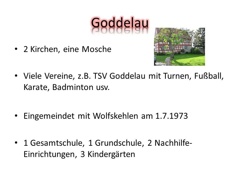 2 Kirchen, eine Mosche Viele Vereine, z.B. TSV Goddelau mit Turnen, Fußball, Karate, Badminton usv.