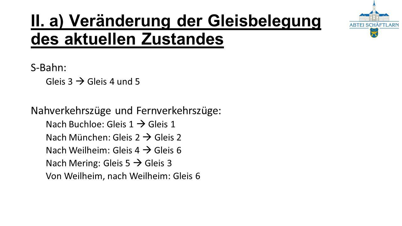 II. a) Veränderung der Gleisbelegung des aktuellen Zustandes S-Bahn: Gleis 3  Gleis 4 und 5 Nahverkehrszüge und Fernverkehrszüge: Nach Buchloe: Gleis