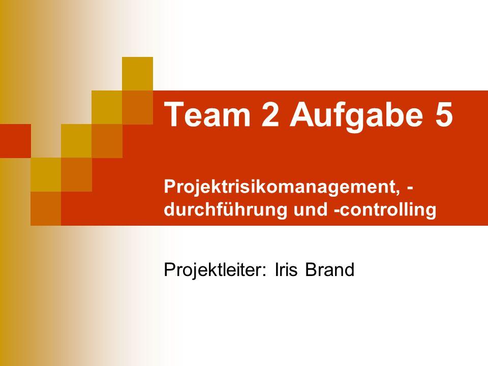 Team 2 Aufgabe 5 Projektrisikomanagement, - durchführung und -controlling Projektleiter: Iris Brand