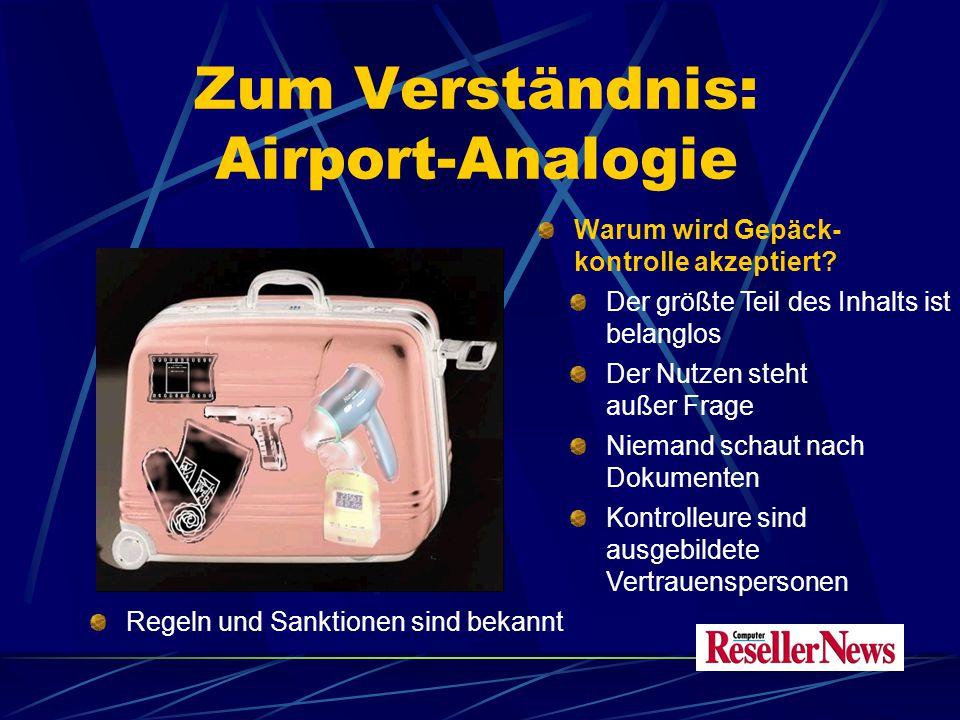 Zum Verständnis: Airport-Analogie Warum wird Gepäck- kontrolle akzeptiert.