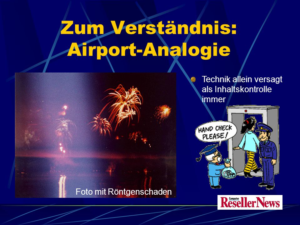 Zum Verständnis: Airport-Analogie Technik allein versagt als Inhaltskontrolle immer Foto mit Röntgenschaden