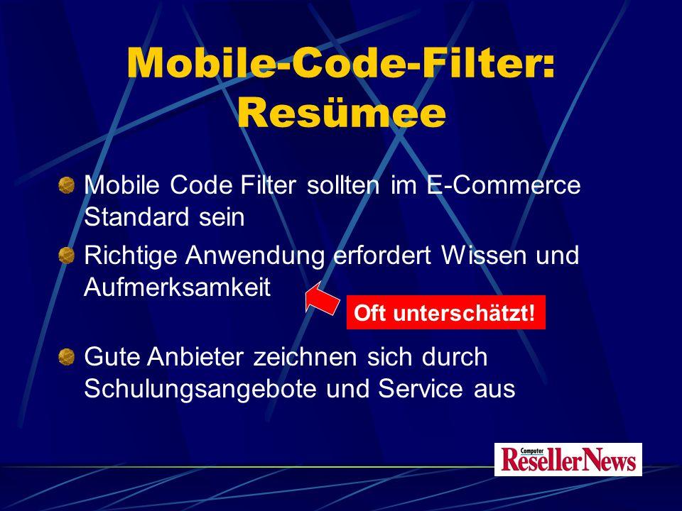Mobile-Code-Filter: Resümee Mobile Code Filter sollten im E-Commerce Standard sein Richtige Anwendung erfordert Wissen und Aufmerksamkeit Gute Anbieter zeichnen sich durch Schulungsangebote und Service aus Oft unterschätzt!