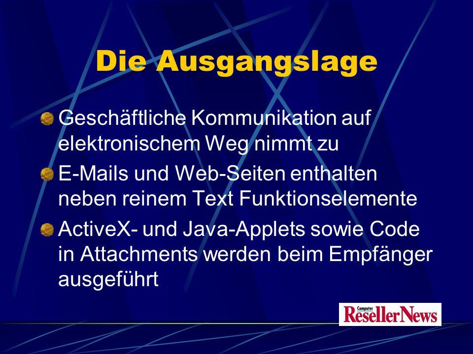 Die Ausgangslage Geschäftliche Kommunikation auf elektronischem Weg nimmt zu E-Mails und Web-Seiten enthalten neben reinem Text Funktionselemente ActiveX- und Java-Applets sowie Code in Attachments werden beim Empfänger ausgeführt