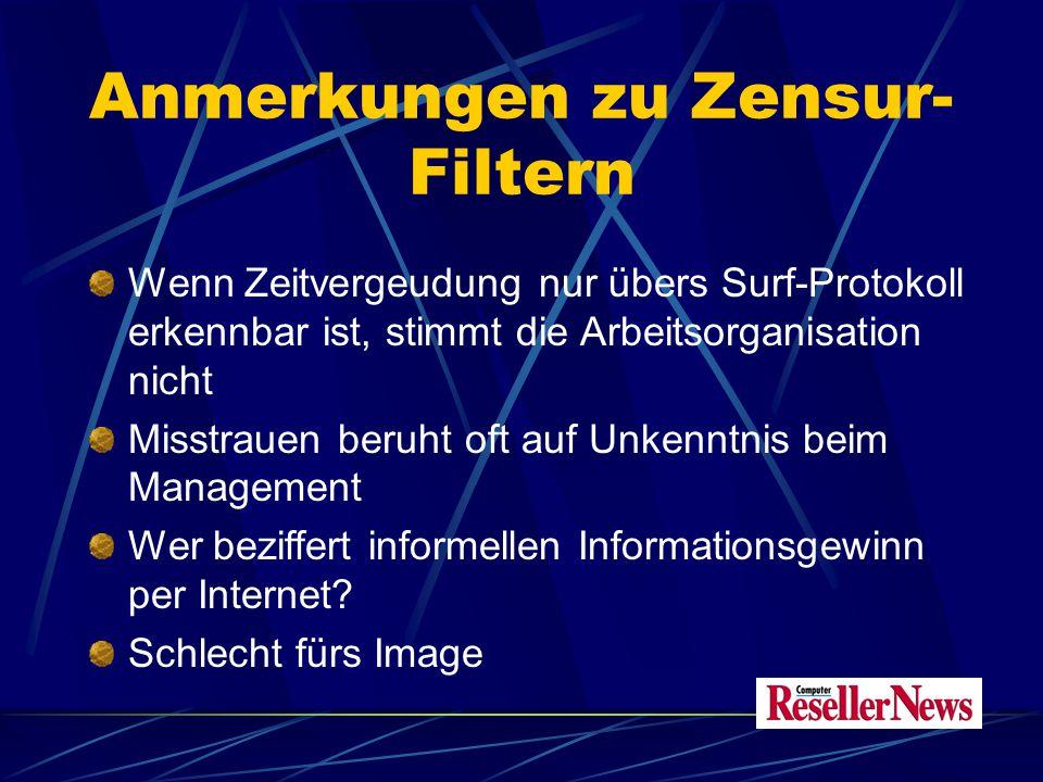 Anmerkungen zu Zensur- Filtern Wenn Zeitvergeudung nur übers Surf-Protokoll erkennbar ist, stimmt die Arbeitsorganisation nicht Misstrauen beruht oft auf Unkenntnis beim Management Wer beziffert informellen Informationsgewinn per Internet.