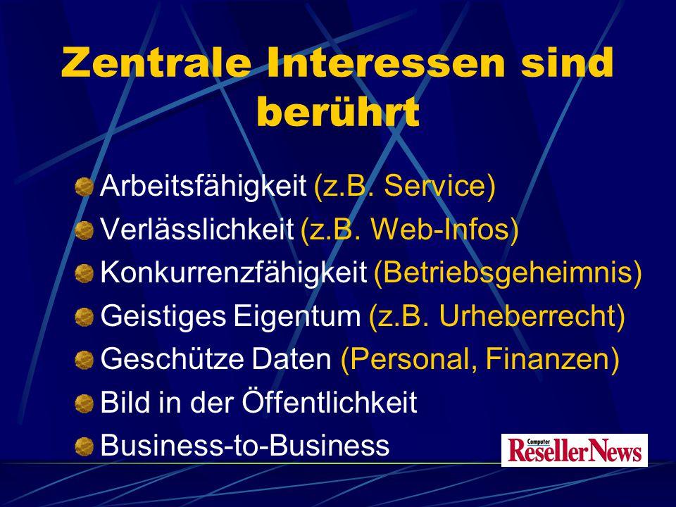 Zentrale Interessen sind berührt Arbeitsfähigkeit (z.B.