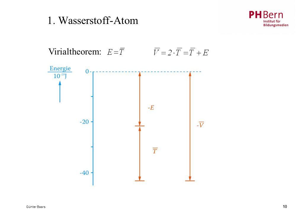 Günter Baars 10 1. Wasserstoff-Atom Virialtheorem: