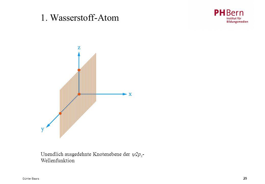 Günter Baars 29 1. Wasserstoff-Atom Unendlich ausgedehnte Knotenebene der  2p x - Wellenfunktion