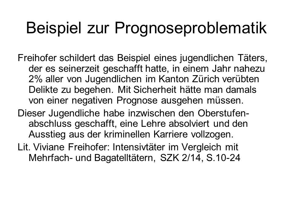 Beispiel zur Prognoseproblematik Freihofer schildert das Beispiel eines jugendlichen Täters, der es seinerzeit geschafft hatte, in einem Jahr nahezu 2