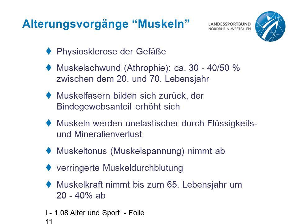 I - 1.08 Alter und Sport - Folie 11 Alterungsvorgänge Muskeln  Physiosklerose der Gefäße  Muskelschwund (Athrophie): ca.