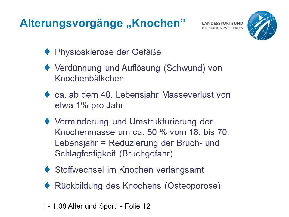 """I - 1.08 Alter und Sport - Folie 12 Alterungsvorgänge """"Knochen  Physiosklerose der Gefäße  Verdünnung und Auflösung (Schwund) von Knochenbälkchen  ca."""