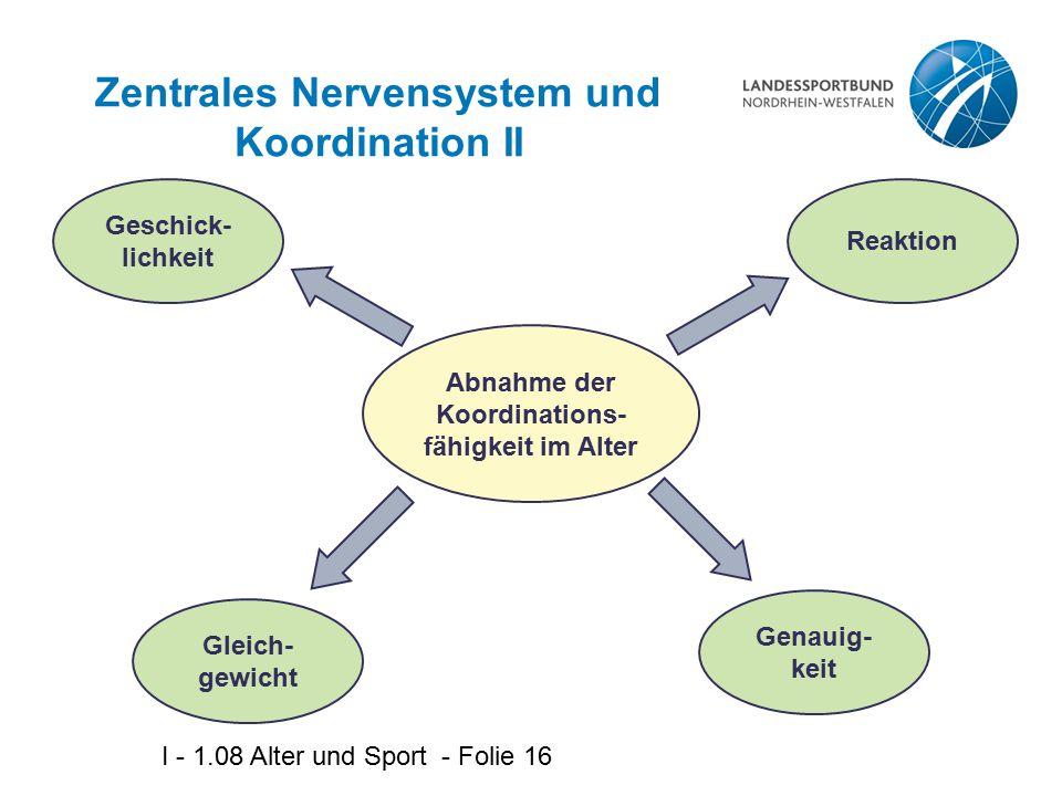 I - 1.08 Alter und Sport - Folie 16 Zentrales Nervensystem und Koordination II Abnahme der Koordinations- fähigkeit im Alter Geschick- lichkeit Gleich- gewicht Genauig- keit Reaktion