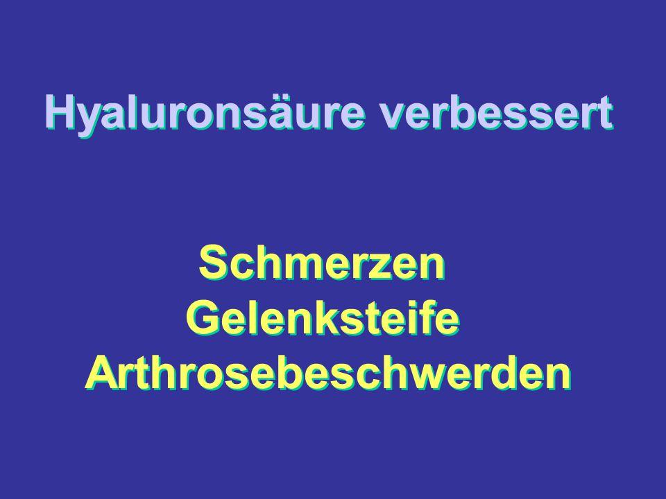 Hyaluronsäure verbessert Schmerzen Gelenksteife Arthrosebeschwerden Hyaluronsäure verbessert Schmerzen Gelenksteife Arthrosebeschwerden