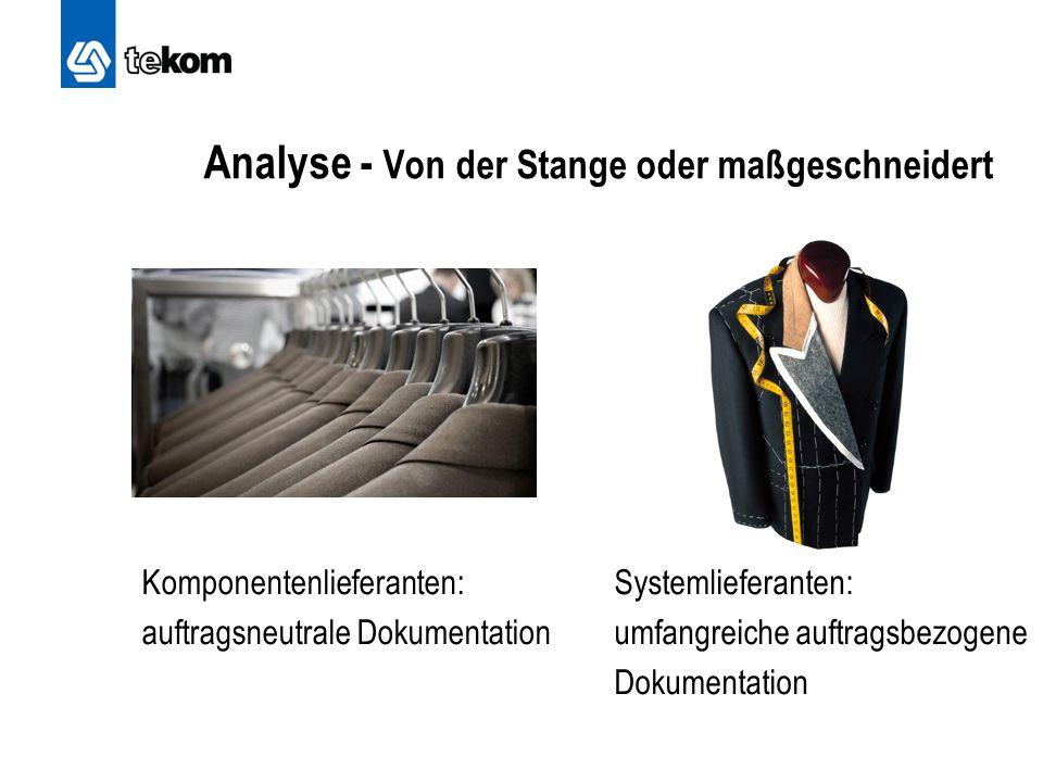 Analyse - Von der Stange oder maßgeschneidert Komponentenlieferanten: auftragsneutrale Dokumentation Systemlieferanten: umfangreiche auftragsbezogene Dokumentation