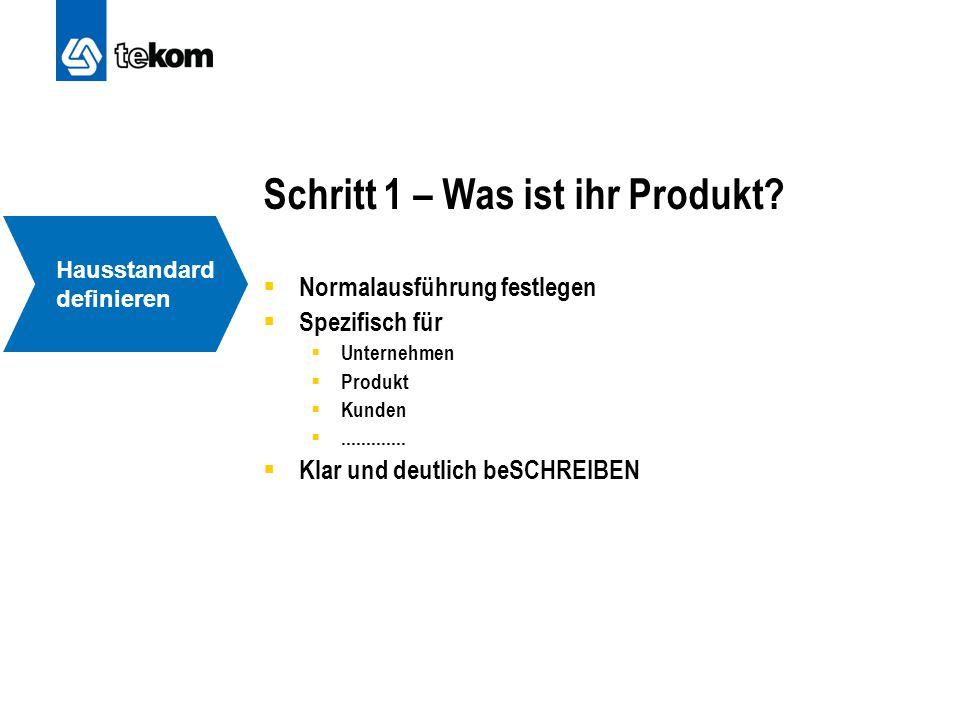 Schritt 1 – Was ist ihr Produkt?  Normalausführung festlegen  Spezifisch für  Unternehmen  Produkt  Kunden .............  Klar und deutlich beS