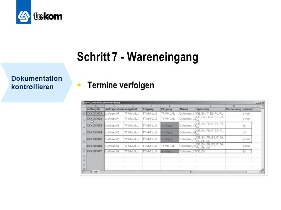Schritt 7 - Wareneingang  Termine verfolgen Dokumentation kontrollieren