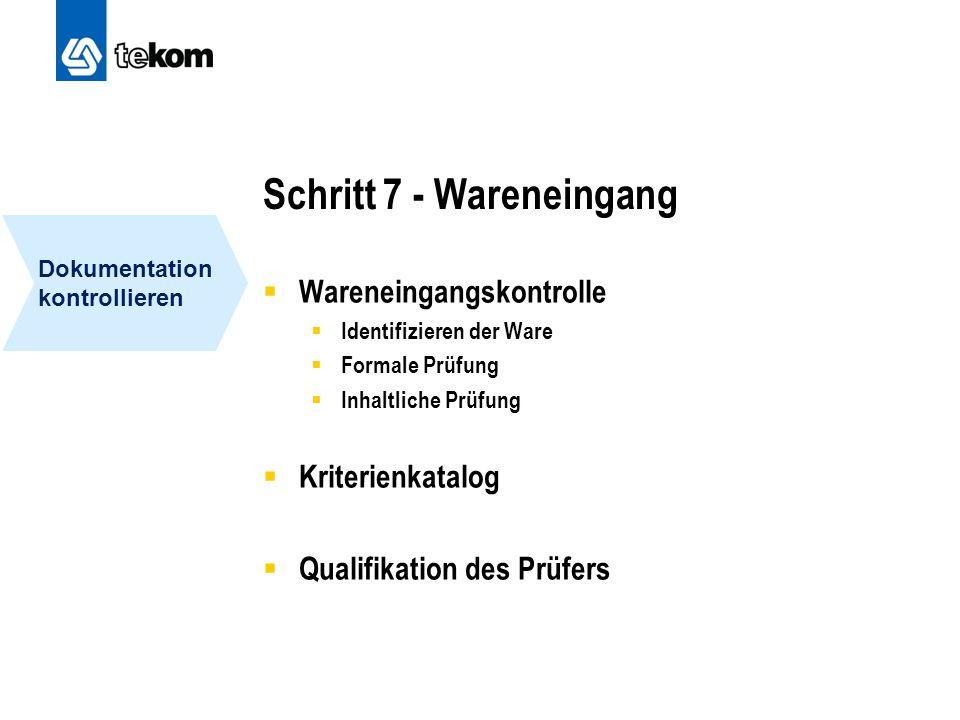 Schritt 7 - Wareneingang  Wareneingangskontrolle  Identifizieren der Ware  Formale Prüfung  Inhaltliche Prüfung  Kriterienkatalog  Qualifikation