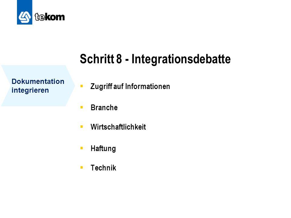 Schritt 8 - Integrationsdebatte  Zugriff auf Informationen  Branche  Wirtschaftlichkeit  Haftung  Technik Dokumentation integrieren