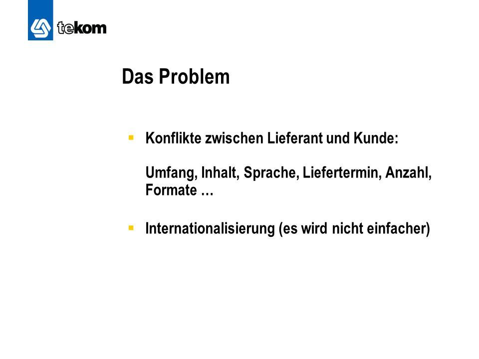 Das Problem  Konflikte zwischen Lieferant und Kunde: Umfang, Inhalt, Sprache, Liefertermin, Anzahl, Formate …  Internationalisierung (es wird nicht