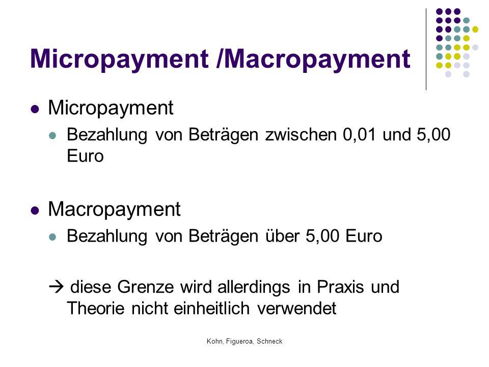 Kohn, Figueroa, Schneck Micropayment Bezahlung von Beträgen zwischen 0,01 und 5,00 Euro Macropayment Bezahlung von Beträgen über 5,00 Euro  diese Grenze wird allerdings in Praxis und Theorie nicht einheitlich verwendet Micropayment /Macropayment