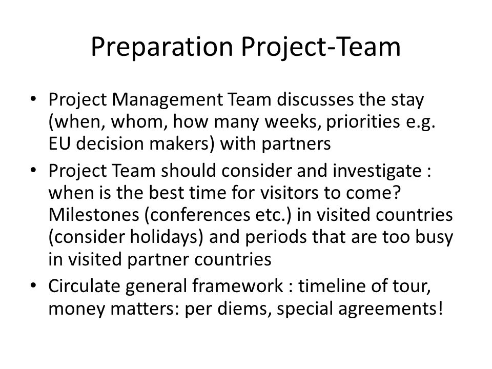 Project Team One person should be responsible.