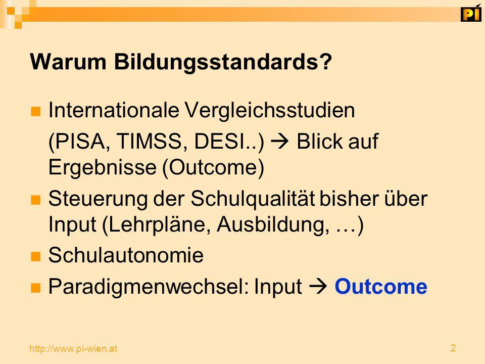 2 http://www.pi-wien.at Warum Bildungsstandards.