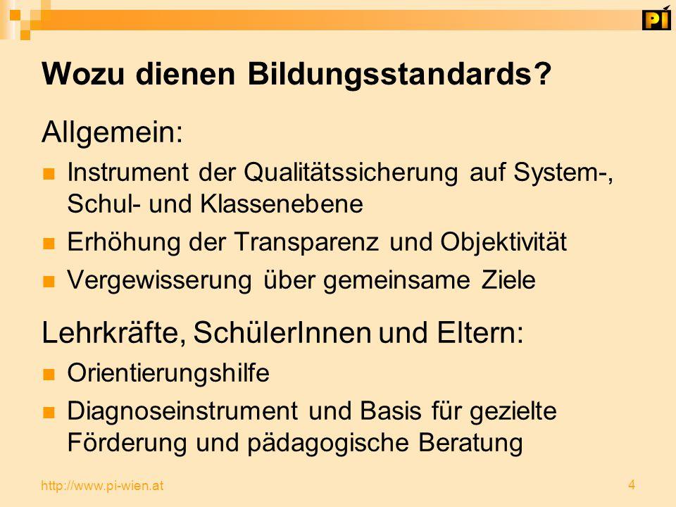 4 http://www.pi-wien.at Wozu dienen Bildungsstandards.