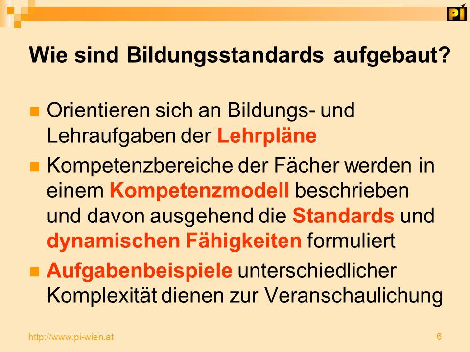 6 http://www.pi-wien.at Wie sind Bildungsstandards aufgebaut.