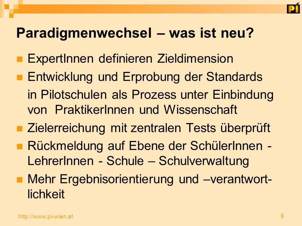 9 http://www.pi-wien.at Paradigmenwechsel – was ist neu.