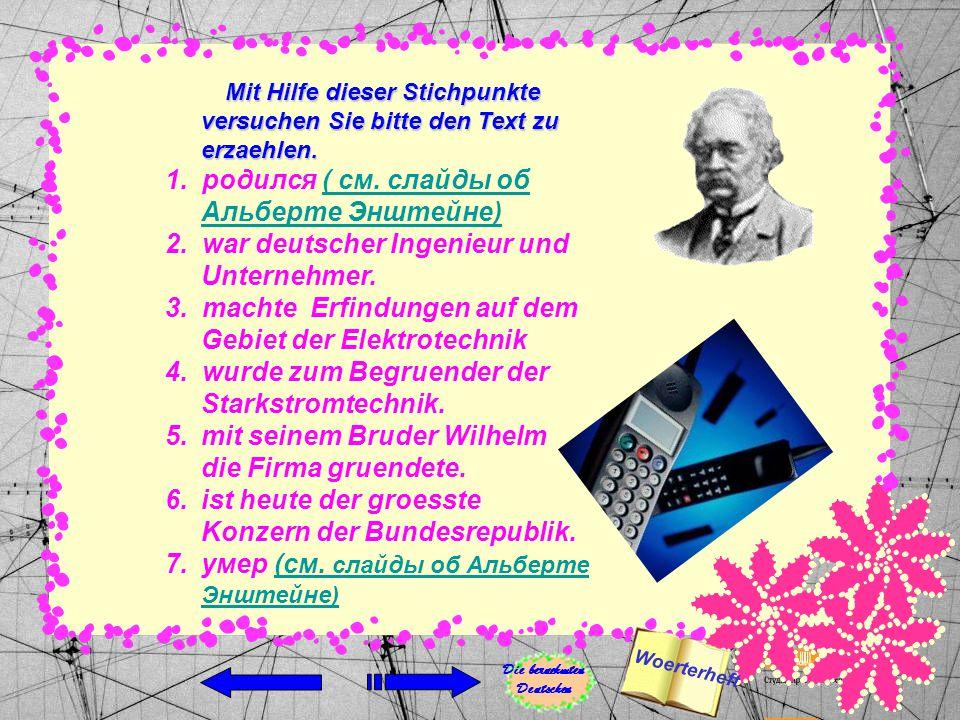 Siemens, Werner von, wurde in Lenthe am 13.Dezember 1816 geboren, ist in Berlin am 6.