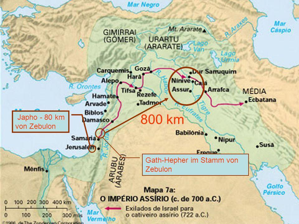 800 km Gath-Hepher im Stamm von Zebulon Japho - 80 km von Zebulon
