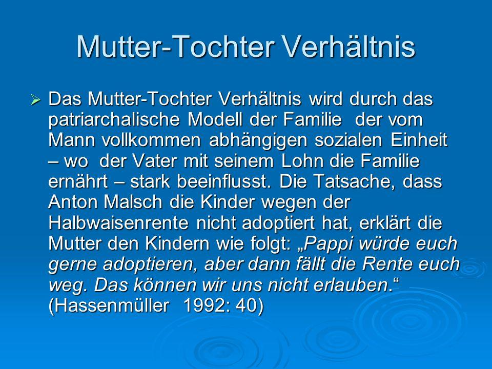 Mutter-Tochter Verhältnis  Das Mutter-Tochter Verhältnis wird durch das patriarchalische Modell der Familie der vom Mann vollkommen abhängigen sozial