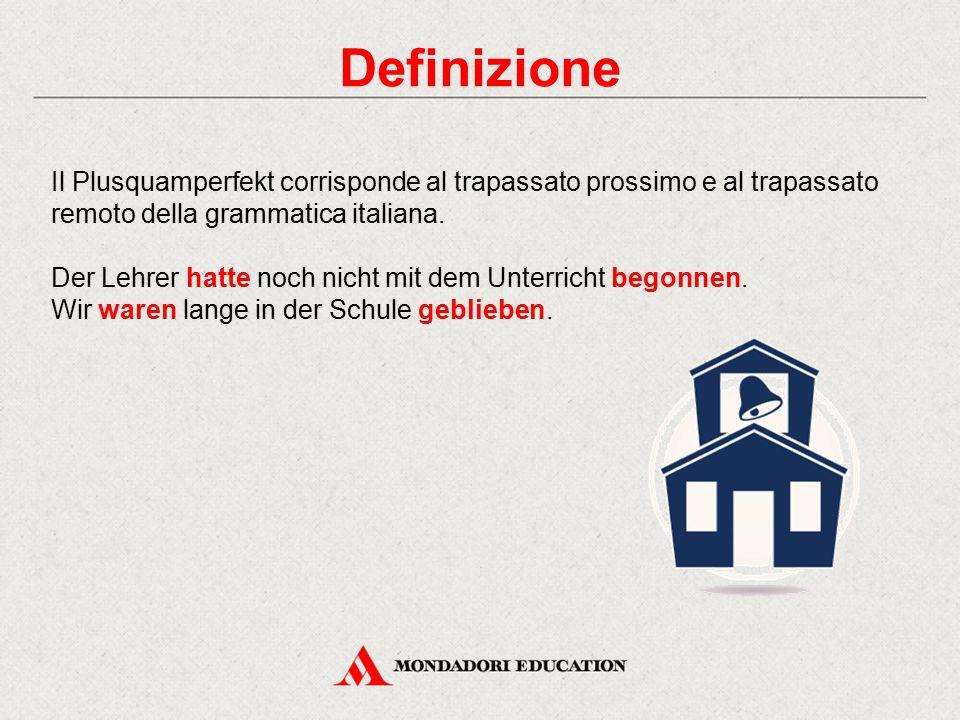 Definizione Il Plusquamperfekt corrisponde al trapassato prossimo e al trapassato remoto della grammatica italiana. Der Lehrer hatte noch nicht mit de