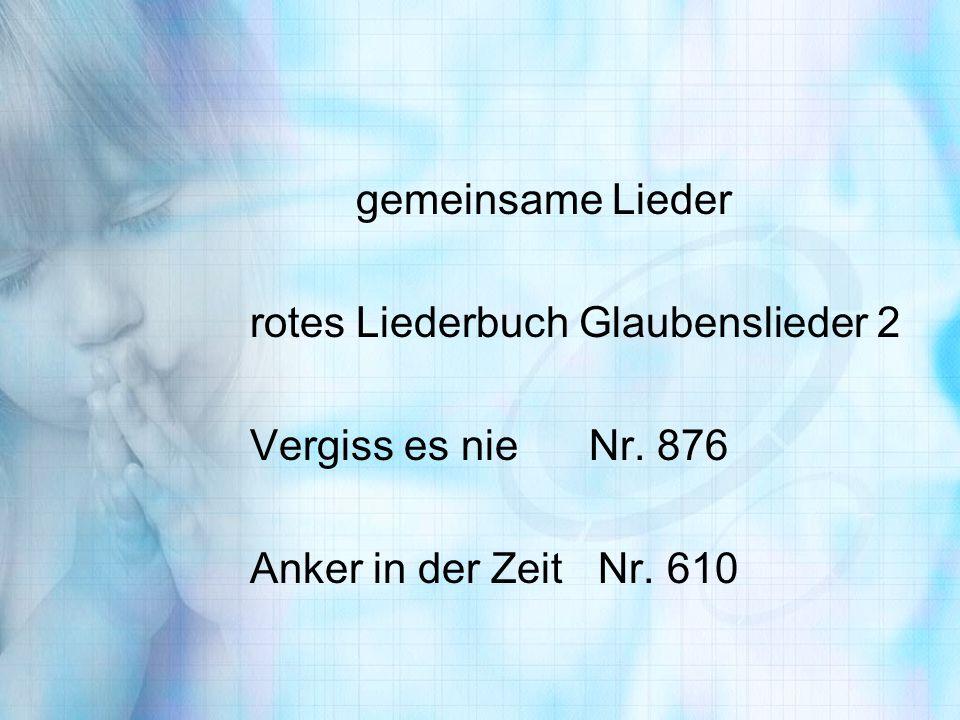 gemeinsame Lieder rotes Liederbuch Glaubenslieder 2 Vergiss es nie Nr. 876 Anker in der Zeit Nr. 610