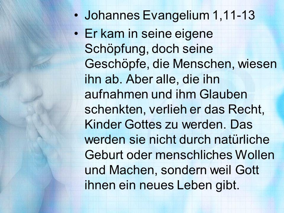 Johannes Evangelium 1,11-13 Er kam in seine eigene Schöpfung, doch seine Geschöpfe, die Menschen, wiesen ihn ab. Aber alle, die ihn aufnahmen und ihm