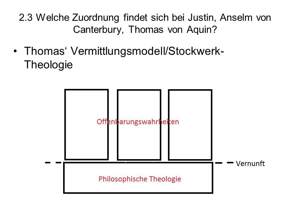 2.3 Welche Zuordnung findet sich bei Justin, Anselm von Canterbury, Thomas von Aquin? Thomas' Vermittlungsmodell/Stockwerk- Theologie