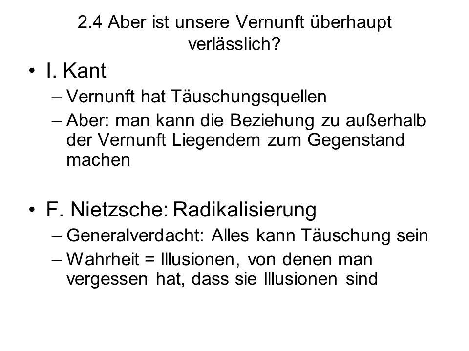 2.4 Aber ist unsere Vernunft überhaupt verlässlich? I. Kant –Vernunft hat Täuschungsquellen –Aber: man kann die Beziehung zu außerhalb der Vernunft Li