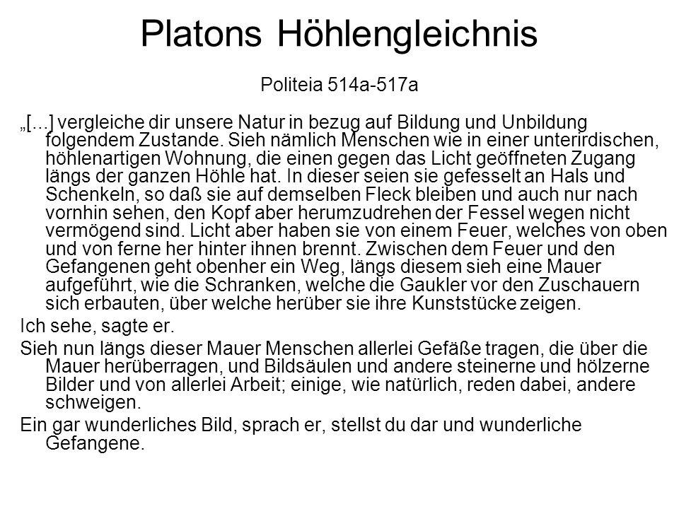 """Platons Höhlengleichnis Politeia 514a-517a """"[...] vergleiche dir unsere Natur in bezug auf Bildung und Unbildung folgendem Zustande. Sieh nämlich Mens"""