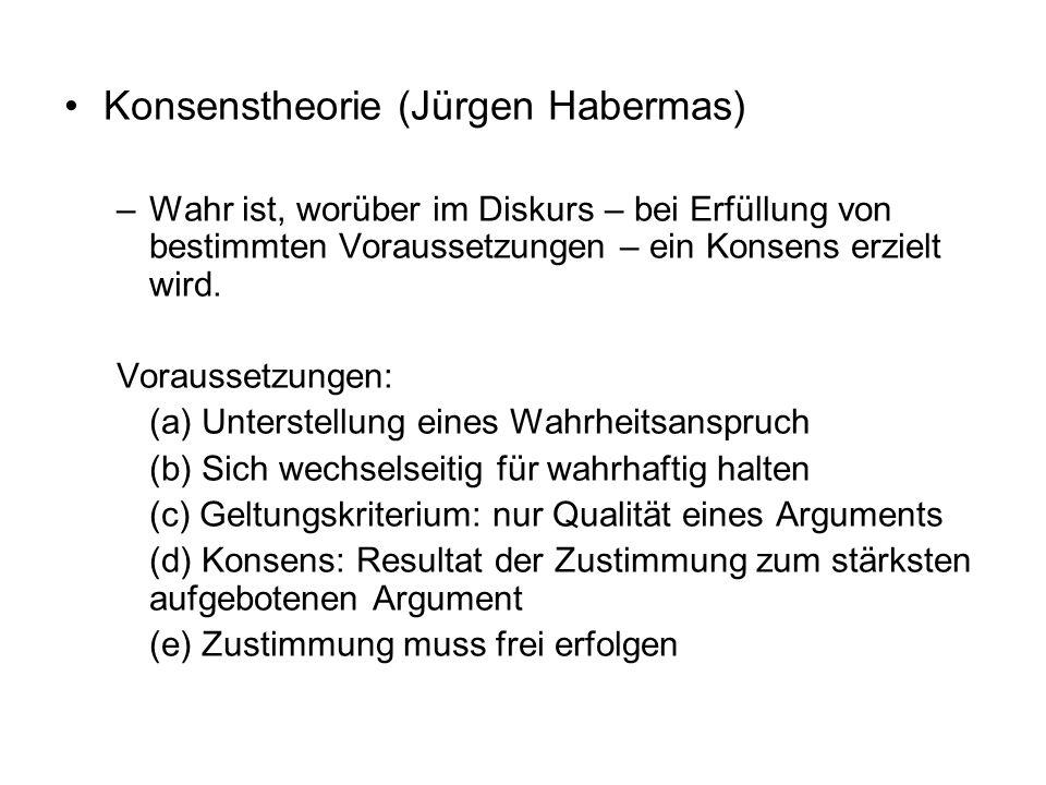 Konsenstheorie (Jürgen Habermas) –Wahr ist, worüber im Diskurs – bei Erfüllung von bestimmten Voraussetzungen – ein Konsens erzielt wird. Voraussetzun