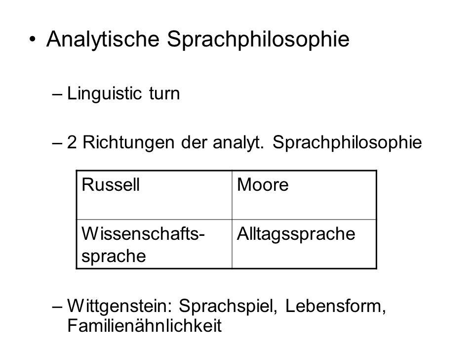 Analytische Sprachphilosophie –Linguistic turn –2 Richtungen der analyt. Sprachphilosophie –Wittgenstein: Sprachspiel, Lebensform, Familienähnlichkeit