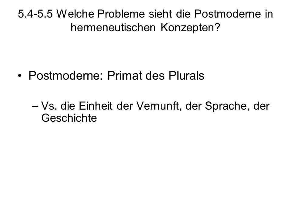 5.4-5.5 Welche Probleme sieht die Postmoderne in hermeneutischen Konzepten? Postmoderne: Primat des Plurals –Vs. die Einheit der Vernunft, der Sprache