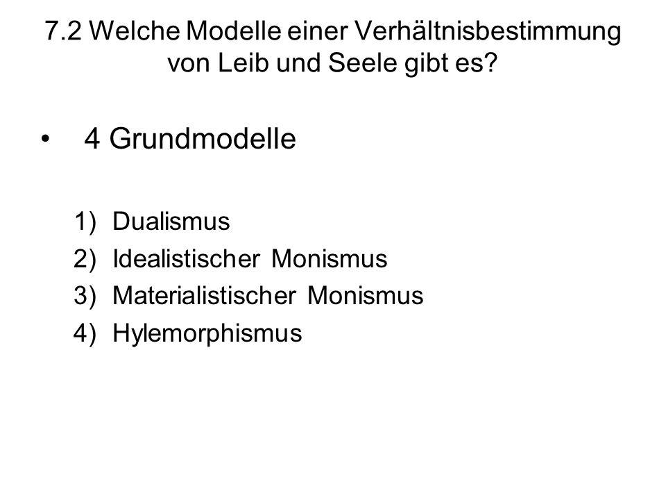 7.2 Welche Modelle einer Verhältnisbestimmung von Leib und Seele gibt es? 4 Grundmodelle 1)Dualismus 2)Idealistischer Monismus 3)Materialistischer Mon