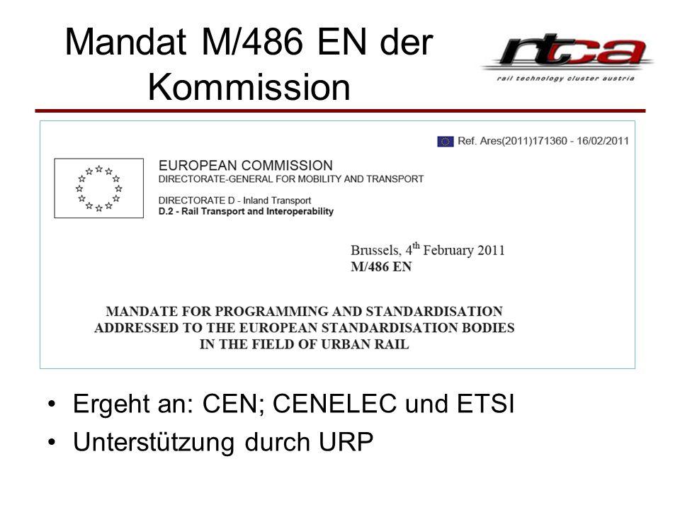 Mandat M/486 EN der Kommission Ergeht an: CEN; CENELEC und ETSI Unterstützung durch URP